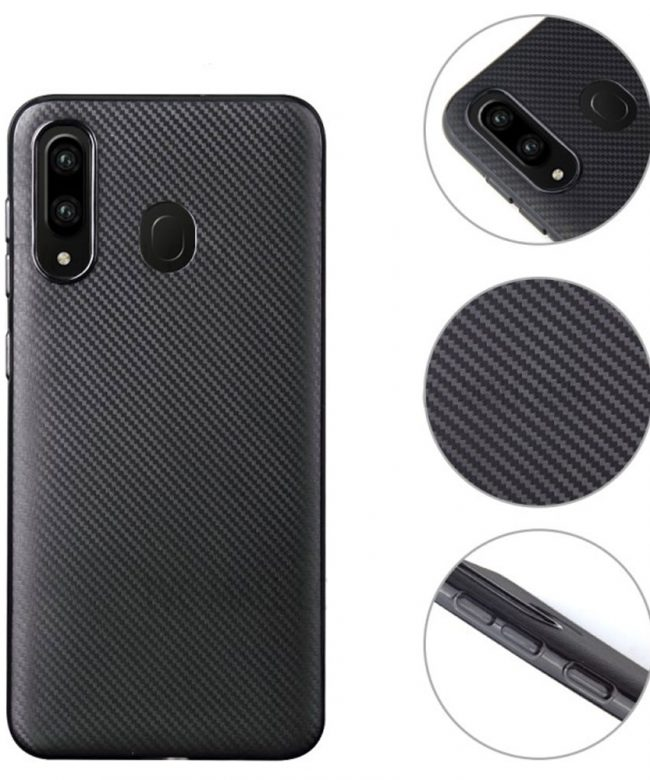 Carbon-Fiber-Texture-Soft-TPU-Back-Cover-for-Samsung-Galaxy-A20S-Black-Pic-1