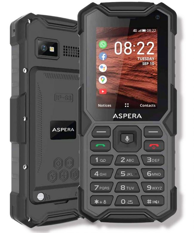 Aspera-R40-(4G,-Rugged-Phone,-Keypad,-IP68)---Black